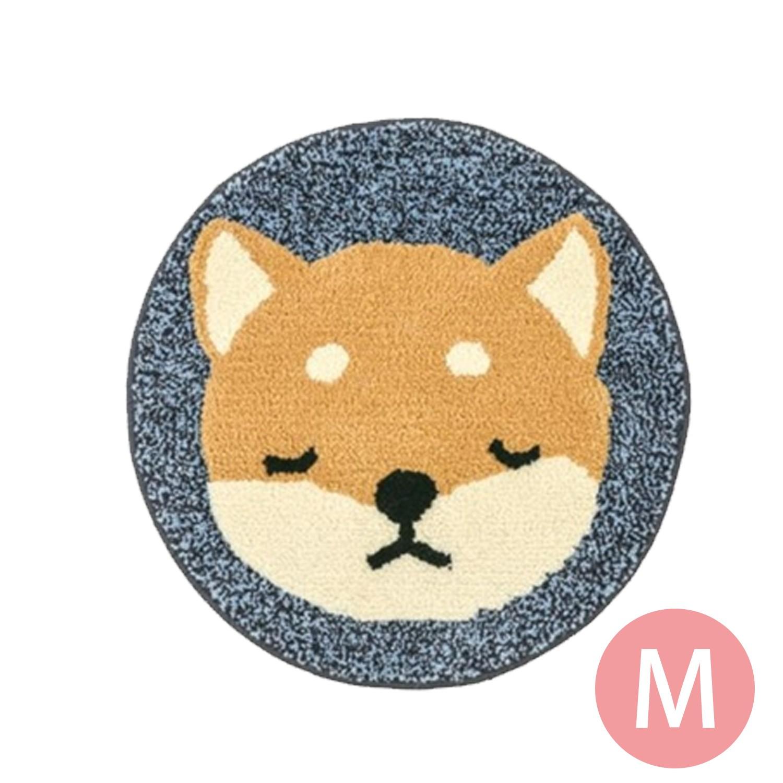 日本代購 - 動物插畫圓形防滑腳踏墊-柴犬-藍 (M(φ50cm))