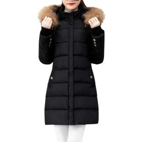 Bigfanshu パーカ ノース フェイス 冬 暖かい 厚い アウターウェア ヘア カラー ジップ コート スリム コットン パッド入り ジャケット レディース用 ブラック サイズ XXL