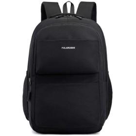 Hazbune 防水バックパック ナイロン スクール バッグ、ポリエステル バッグ ショルダー バッグ15.6インチ コンピューター パックサック ブラック (色 : 黒)