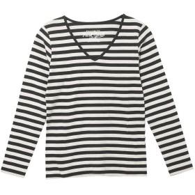 (パークガール)PARK GIRL コットン100%フライス素材ボーダーVネック長袖Tシャツ レディース 大きいサイズ M/L/LL 562840000b (L, ブラック×オフホワイト(均等))