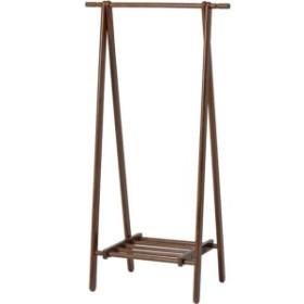 モダン調 ハンガーラック/コートハンガー 【ブラウン】 幅80cm 折りたたみ 収納棚付き 木製【代引不可】