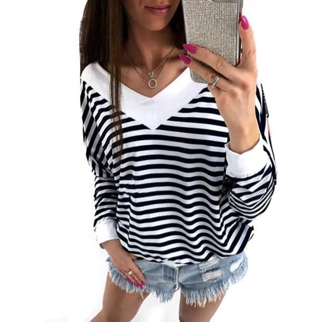 RAIIKKU 女性の長袖VネックストライプTシャツブラウストップス女性のカジュアルTシャツカジュアルブラウスシフォン夏のシャツブラウス (色 : 黒, サイズ : M)