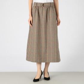 MELROSE CLAIRE(メルローズ クレール)/ウール混Aラインチェックロングスカート