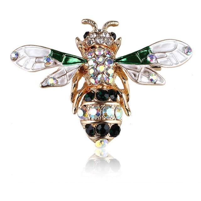 YAZILIND合金胸ピンラインストーン昆虫蜂エナメルブローチピン女性男性服アクセサリーピンとブローチグリーン2