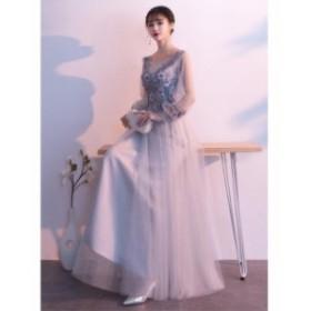 3色入♪長いワンピース 素敵 3色入 プリンセスライン 人気 パーティードレス 花嫁 ウェディングドレス 結婚式 ブライダル 着痩せ キレイ