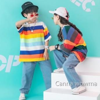 子供 ボーダー 半袖Tシャツ 子供 夏季演出用 男の子 女の子hiphop半袖Tシャツキッズダンス衣装