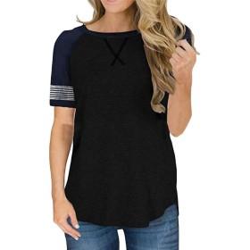 Keaac 女性カジュアル半袖丸首トップカラーストライプストライプTシャツチュニックブラウス black XL