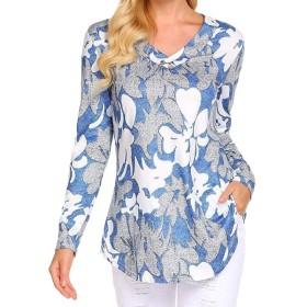 chenshiba-JP レディースファッションTシャツプルオーバー長袖Vネックボタンアッププルオーバールーズカジュアルチュニックトップスシャツ Blue XS