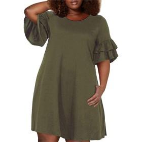 Richerフリルスリーブドレス ワンピース 丸首レディース チュニック プリーツ 軽くて涼しい Aライン ドレス カジュアル 着やせ 大きいサイズ