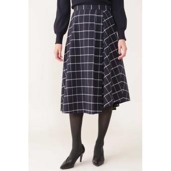 NATURAL BEAUTY [ドラマ着用]◆ウィンドペンアシンメトリースカート ひざ丈スカート,ネイビー