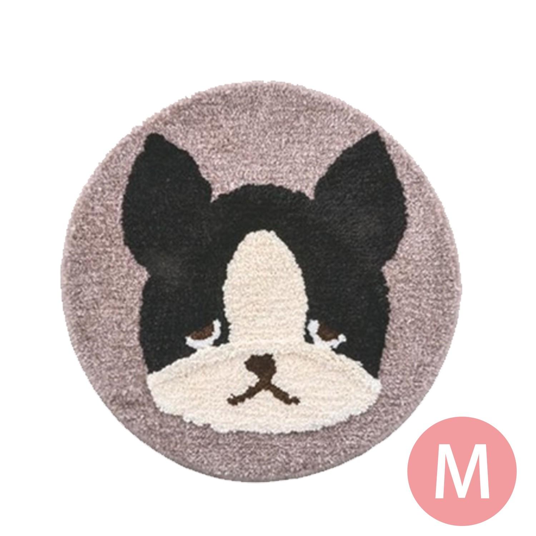 日本代購 - 動物插畫圓形防滑腳踏墊-黑白法鬥-灰 (M(φ50cm))