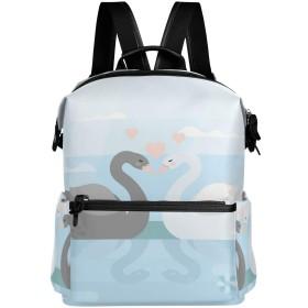 白鳥 二つ 恋人 かわいい リュック 学生用 デイパック レディース 大容量 バックパック 男女兼用 機能性 大容量 防水性 デザイン 旅行 ブックバッグ ファション