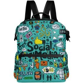 メディア柄 リュック 学生用 デイパック レディース 大容量 バックパック 男女兼用 機能性 大容量 防水性 デザイン 旅行 ブックバッグ ファション