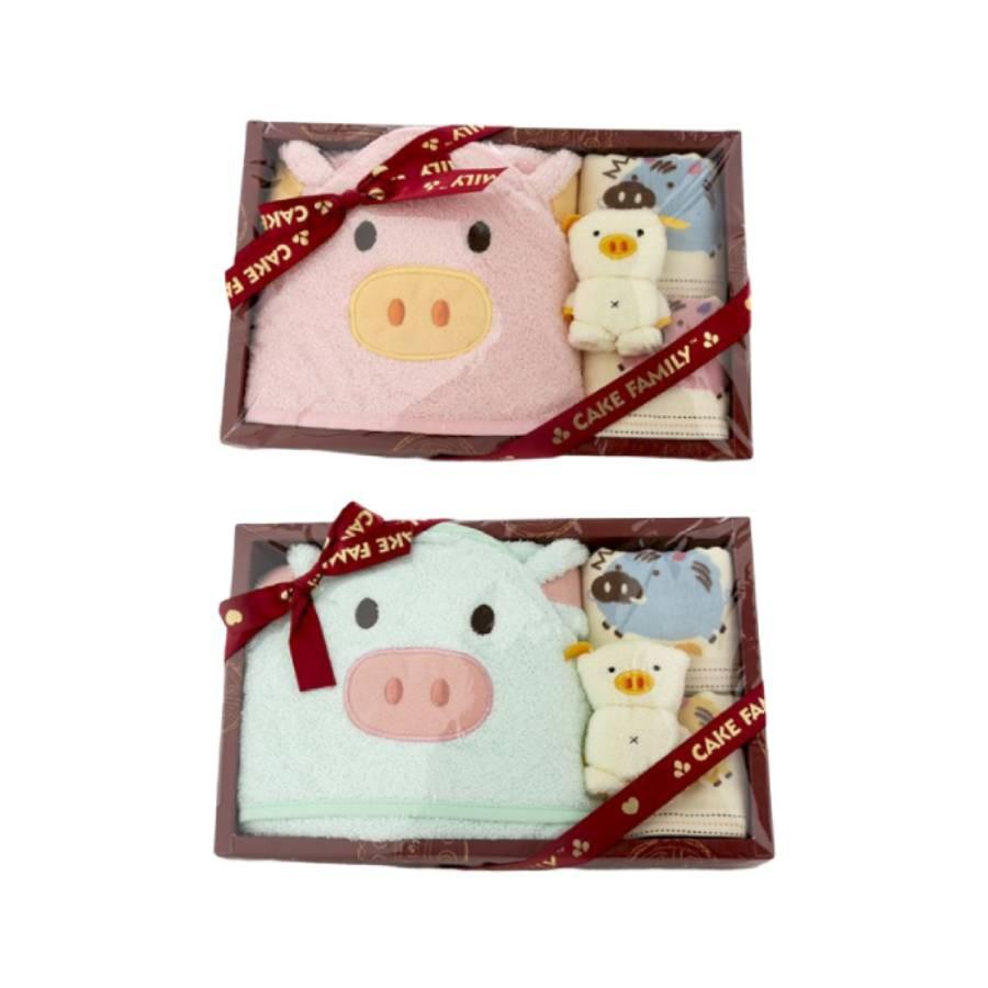 【台灣興隆毛巾】多豬多孫福氣包巾禮盒 單盒裝