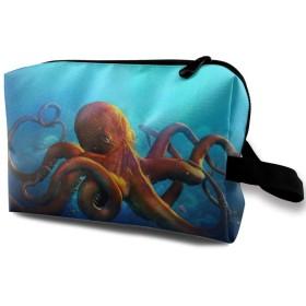 Funny Octopus 収納ポーチ 化粧ポーチ 大容量 軽量 耐久性 ハンドル付持ち運び便利。入れ 自宅・出張・旅行・アウトドア撮影などに対応。メンズ レディース トラベルグッズ