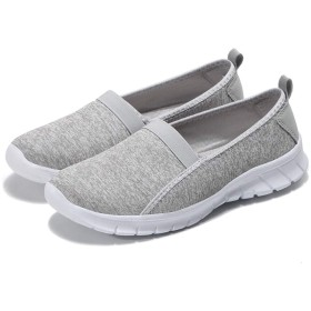 [DingCheng] スリッポン レディース メンズ お年寄りシューズ ウォーキングシューズ 安全靴 リハビリ 介護靴 中高齢者 スニーカー ライトグレー EU38 (24cm)