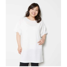 eur3 【大きいサイズ】袖フラワーレースデザインチュニック チュニック・ロングシャツ,ホワイト
