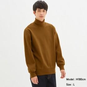 (GU)スウェットタートルネックシャツ(長袖) BROWN XL