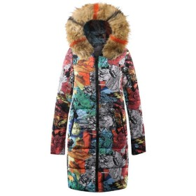 VITryst Womens Parka Fur Collar Padded Cotton Novelty Printed Outwear Jacket Brown XL