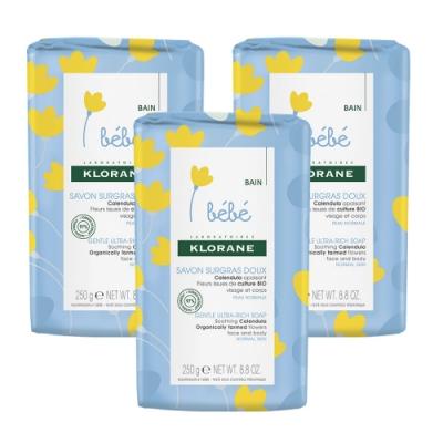 KLORANE蔻蘿蘭 寶寶金盞花保濕乳霜皂(250g)3入組