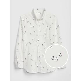 Gap プリントポプリン ボタンダウンシャツ (キッズ)