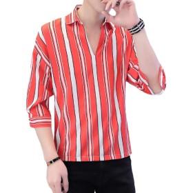 [Bestmood]ストライプシャツ メンズ ゆったり Tシャツ ストライプ柄 ファッション シフォン カットソー七分袖 Vネック カジュアル トップス 通気 おしゃれ 韓国風 夏(Xレッド)