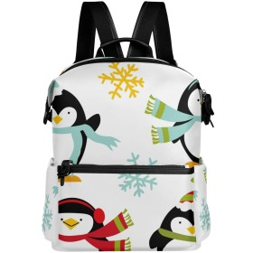 ペンギン クリスマス 雪 かわいい リュック 学生用 デイパック レディース 大容量 バックパック 男女兼用 機能性 大容量 防水性 デザイン 旅行 ブックバッグ ファション