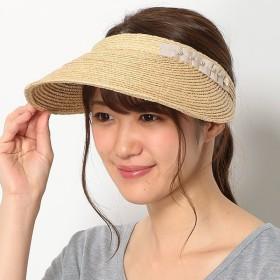 [マルイ] 【UV遮蔽率99.9%以上】ラフィアブレード グログラン×パール調 クリップサンバイザー/フルラ(ネックウェア・帽子)(FURLA)