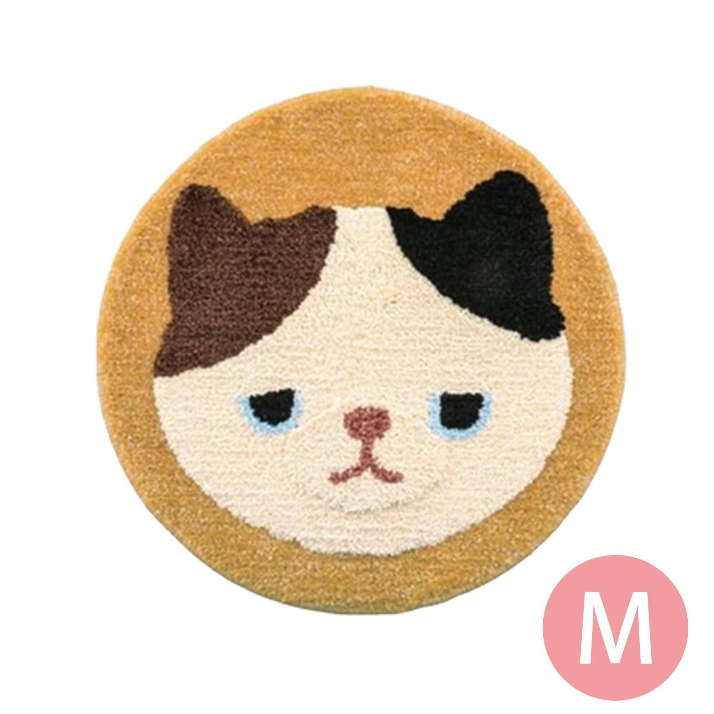日本代購 - 動物插畫圓形防滑腳踏墊-花貓-黃 (M(φ50cm))