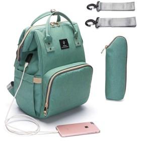 GEGEベビーおむつバッグママベビーカーバッグUSB大容量防水おむつバッグミイラ旅行リュックケアバッグ