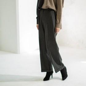 パンツのソムリエ 両面微起毛 ストライプ柄 ワイドパンツ