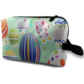 ラインパターンカラフルなホリデーイースター 化粧バッグ 収納袋 女大容量 化粧品クラッチバッグ 収納 軽量 ウィンドジップ