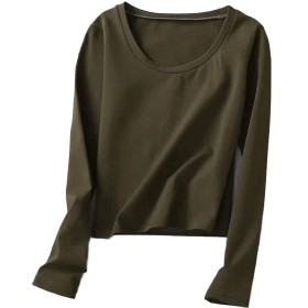 RAIIKKU 女性のラウンドネック長袖ソリッドトップスブラウスチュニック女性のカジュアルなTシャツカジュアルブラウスシフォン夏のシャツブラウス (色 : オレンジ, サイズ : S)