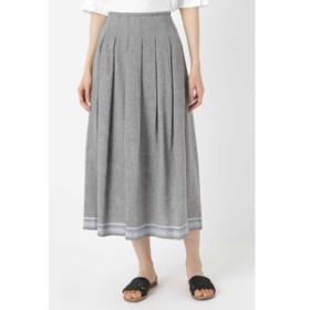 【SALE開催中】【HUMAN WOMAN:スカート】◆ラインボーダータックスカート