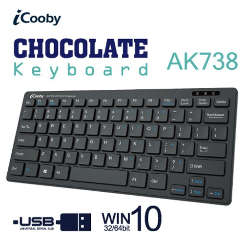 iCooby AK738 薄型巧克力鍵盤 79鍵 中文鍵帽 USB 黑色