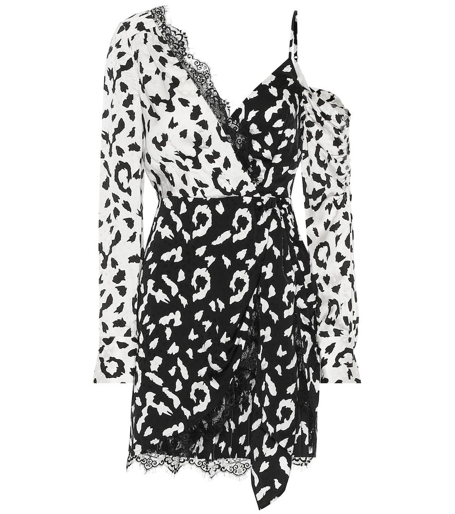 Lace-trimmed leopard-print dress