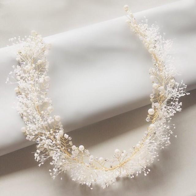 【再販】かすみ草と小枝アクセサリーのヘッドドレス ウェディング ブライダル 結婚式 ゴールド 髪飾り
