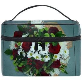 収納ポーチ 通勤 出張 旅行 大容量 バラの菊の花軽量 携帯 便利