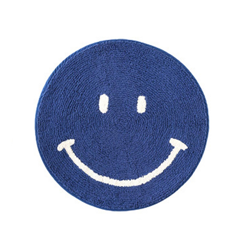 日本 TOMO - 圓形可愛地墊-笑臉-深藍 (φ50cm)