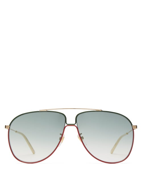Gucci - Aviator Metal Sunglasses - Mens - Gold