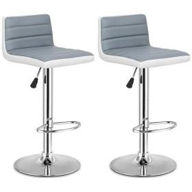 調節可能なグレーPUレザーバースツール快適な高さ調節可能なスイベル360度椅子高品質セット2