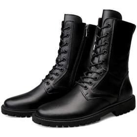 ビジネスシューズ ブーツ ハイカット メンズ ファスナー レースアップ ブーツ 26.5cm 紳士靴 イングランド風 カジュアル 黒 幅広 履きやすい ショートブーツ かっこいい 歩きやすい やわらかい