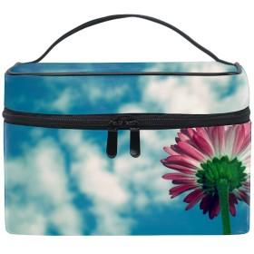 デイジーの花の空雲化粧ポーチ メイクポーチ コスメポーチ 化粧品収納 小物入れ 軽い 軽量 防水 旅行も便利