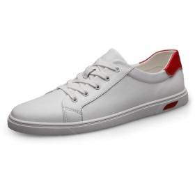 高級ビジネスシューズ ファッションスニーカーメンズカジュアルウォーキングスケートシューズレースアップラウンドトゥ滑り止め通気性本革軽量 ZhanMa-9.27 (Color : 白, サイズ : 25 CM)