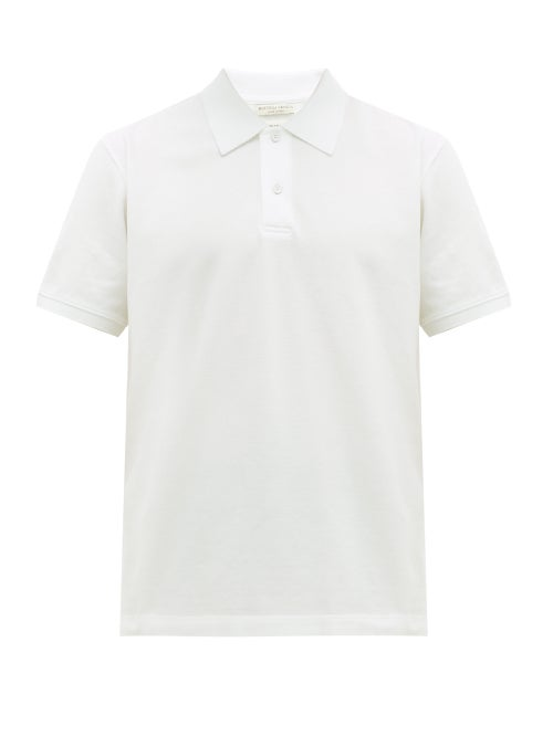 Bottega Veneta - Short-sleeved Cotton-piqué Polo Shirt - Mens - White