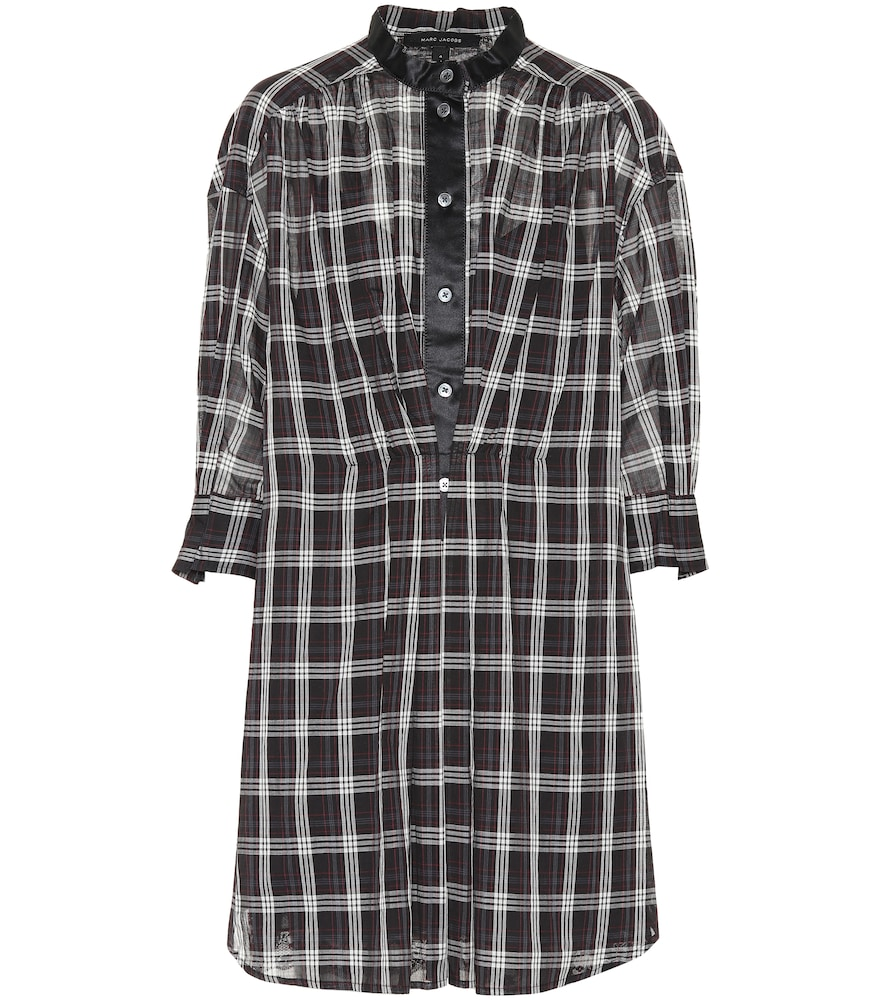 Checked cotton shirt dress