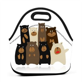Brown Animal Funny Bears Family 保温再利用可能おポータブル弁当箱ランチトートバッグ食事袋子供大人ユニセックス