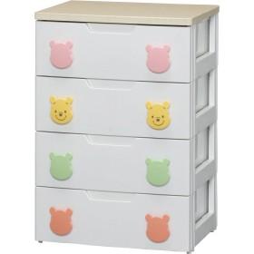アイリスオーヤマ ディズニー チェスト 収納ボックス 棚 子ども用チェスト プーさん 4段 幅56cm PHG-554H