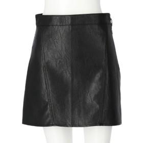 ANAP サイドジップフェイクレザースカート(ブラック)