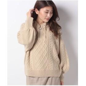 DAISY MERRY ケーブル編みハーフジップパーカー(ベージュ)【返品不可商品】